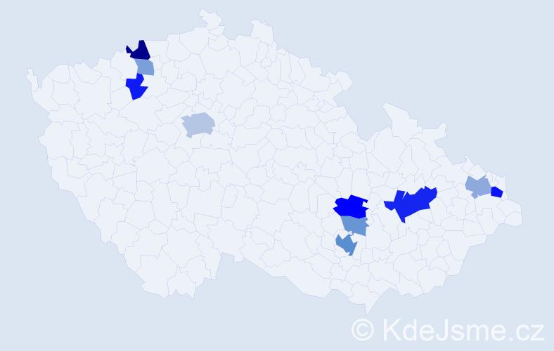 Příjmení: 'Heinc', počet výskytů 25 v celé ČR
