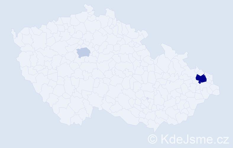 Příjmení: 'Čeligová', počet výskytů 4 v celé ČR