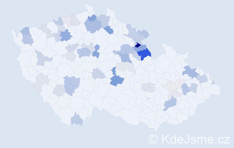 Příjmení: 'Jablonská', počet výskytů 169 v celé ČR