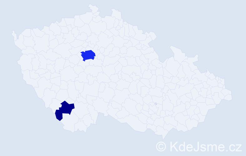 Příjmení: 'Knoblau', počet výskytů 15 v celé ČR