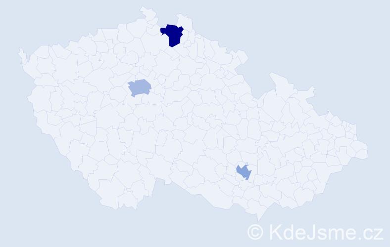 Příjmení: 'Doran', počet výskytů 5 v celé ČR