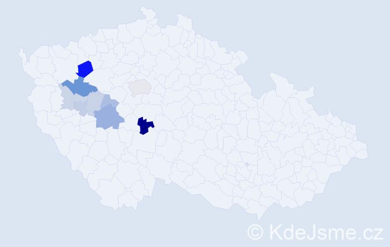 Příjmení: 'Daliman', počet výskytů 21 v celé ČR