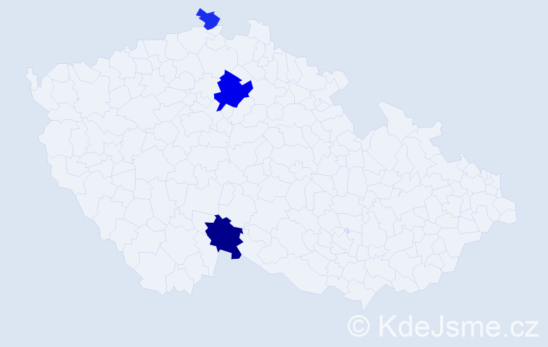 Příjmení: 'Hodúl', počet výskytů 6 v celé ČR
