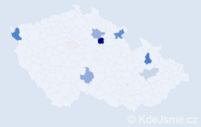 Příjmení: 'Caleková', počet výskytů 13 v celé ČR