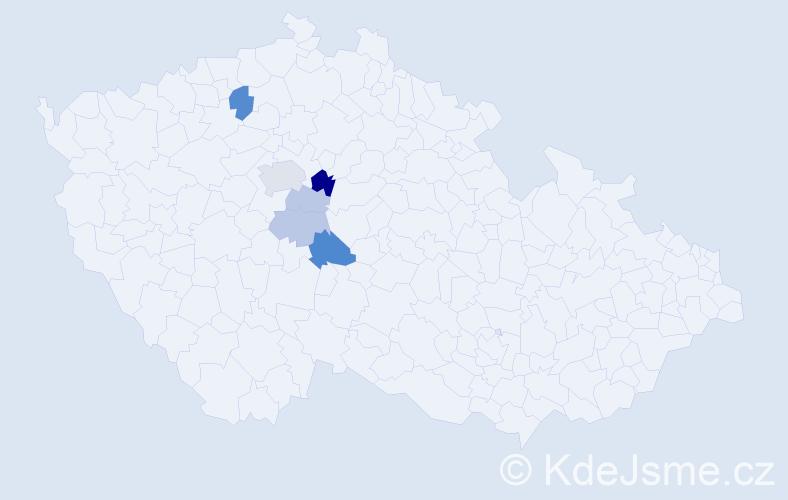 Příjmení: 'Hanikýřová', počet výskytů 13 v celé ČR