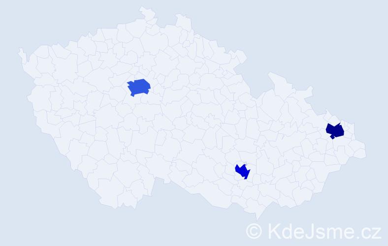 Příjmení: 'Derman', počet výskytů 4 v celé ČR