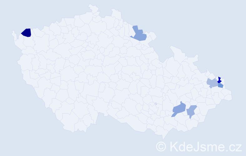 Příjmení: 'Kizová', počet výskytů 11 v celé ČR
