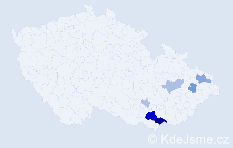 Příjmení: 'Čerňanová', počet výskytů 14 v celé ČR