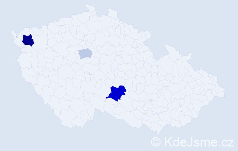 Příjmení: 'Bosanacová', počet výskytů 3 v celé ČR