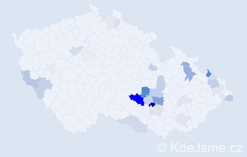 Příjmení: 'Jízdná', počet výskytů 75 v celé ČR