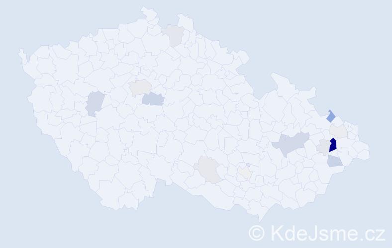 Příjmení: 'Honč', počet výskytů 60 v celé ČR