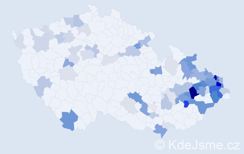 Příjmení: 'Chrobák', počet výskytů 245 v celé ČR