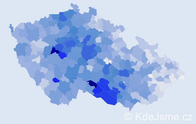Příjmení: 'Veselý', počet výskytů 12904 v celé ČR