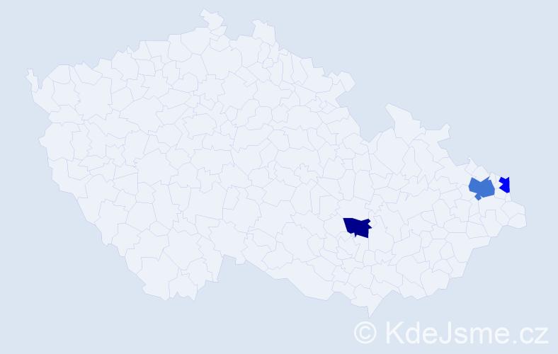 Příjmení: 'Čeladín', počet výskytů 4 v celé ČR