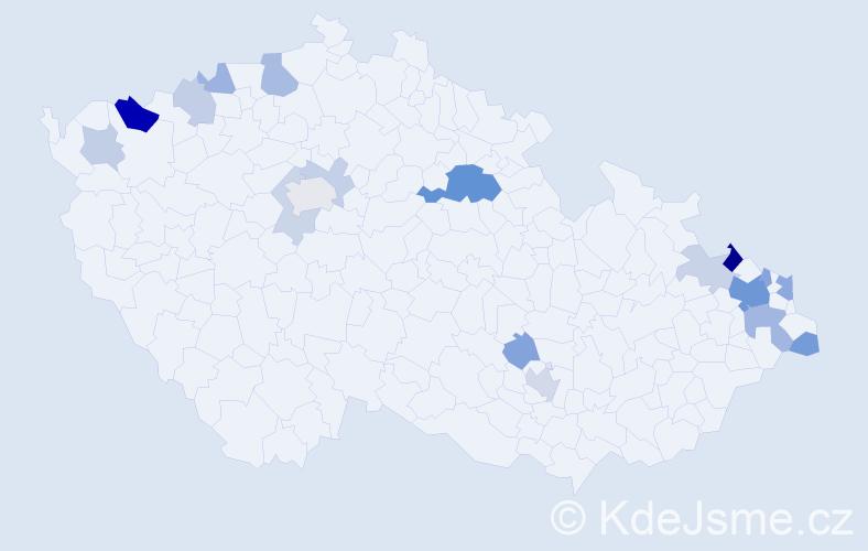 Příjmení: 'Capek', počet výskytů 42 v celé ČR