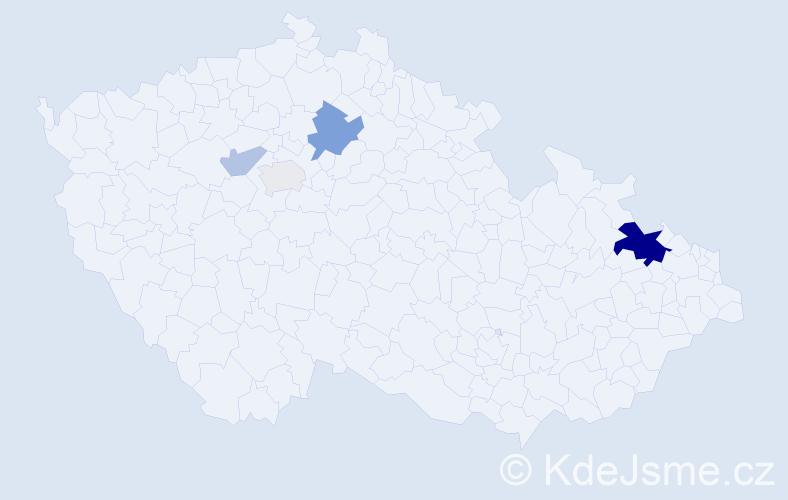 Příjmení: 'Kimpl', počet výskytů 11 v celé ČR