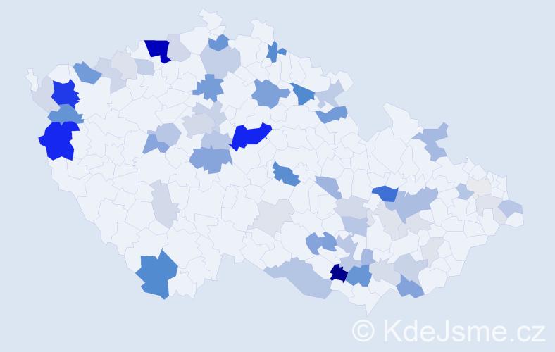 Příjmení: 'Dršková', počet výskytů 190 v celé ČR