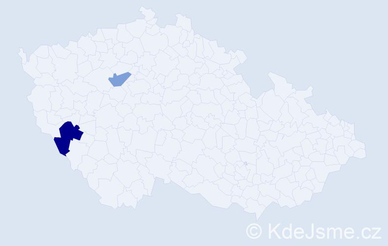 Příjmení: 'Frankovský', počet výskytů 3 v celé ČR