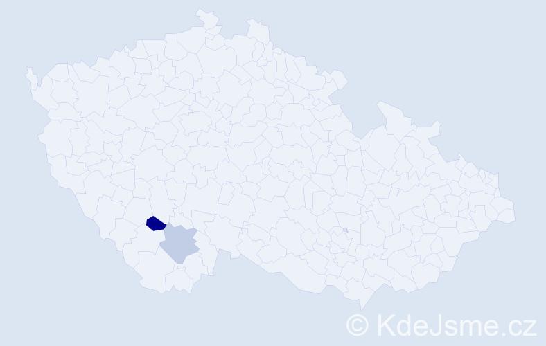 Příjmení: 'Iral', počet výskytů 23 v celé ČR