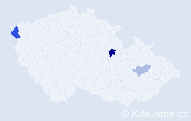 Příjmení: 'Bělin', počet výskytů 5 v celé ČR