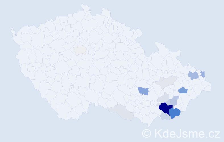 Příjmení: 'Crla', počet výskytů 66 v celé ČR