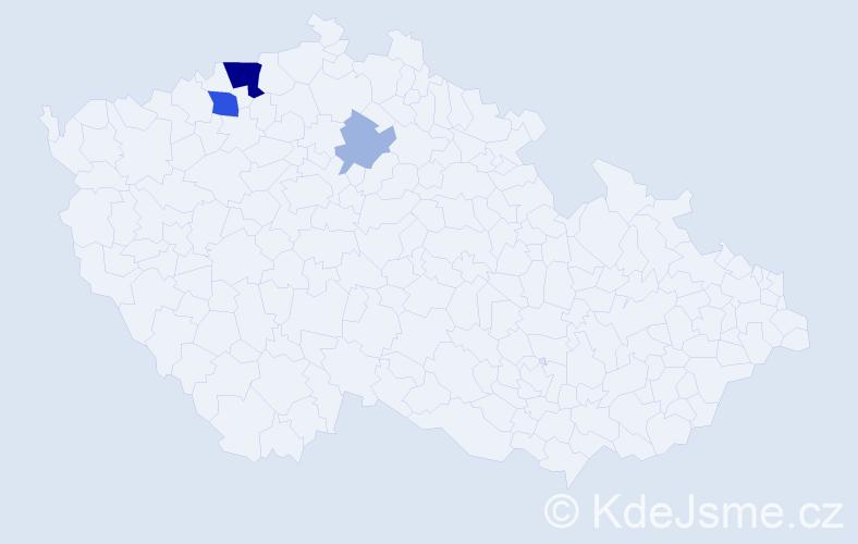 Příjmení: 'Bachovský', počet výskytů 10 v celé ČR