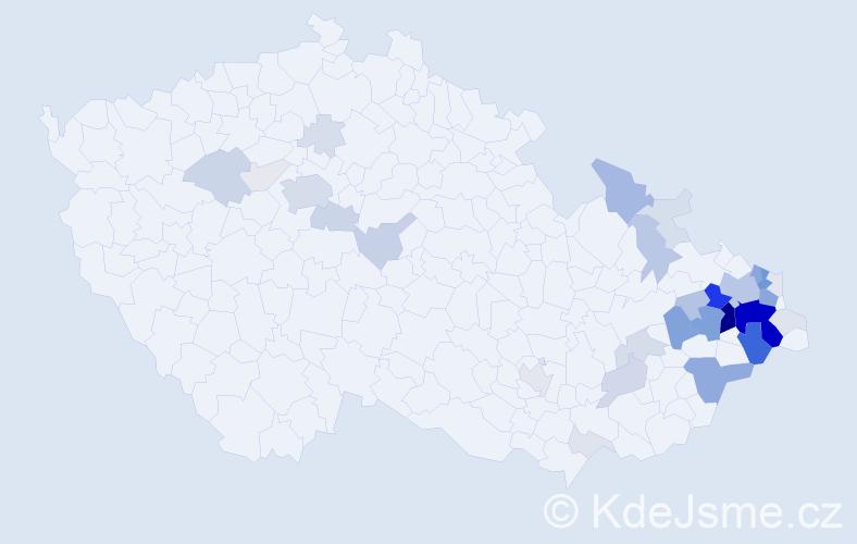 Příjmení: 'Kuboš', počet výskytů 156 v celé ČR