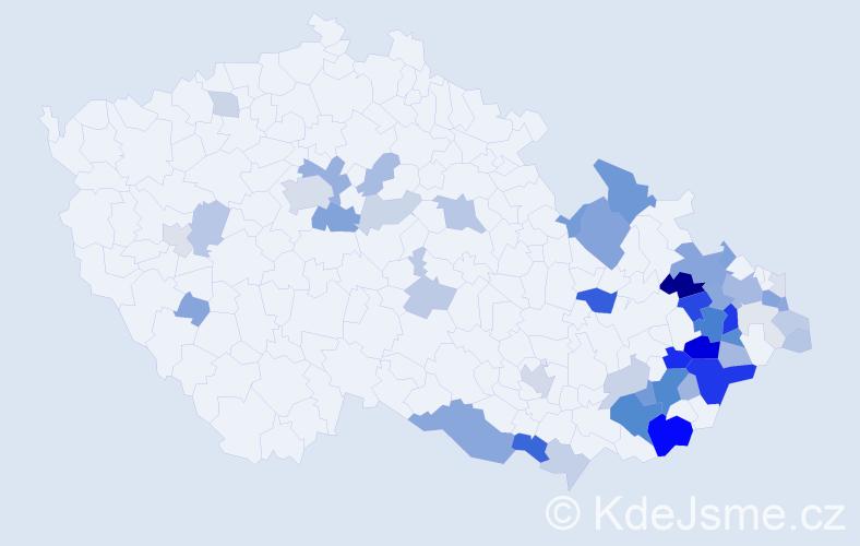 Příjmení: 'Baroň', počet výskytů 224 v celé ČR
