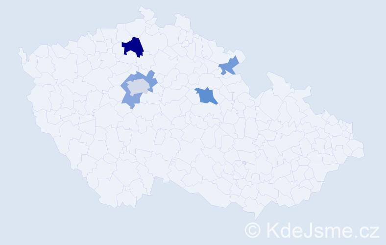 Příjmení: 'Krehan', počet výskytů 10 v celé ČR