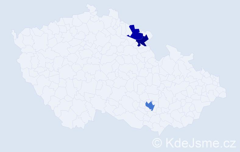 Příjmení: 'Daleký', počet výskytů 8 v celé ČR