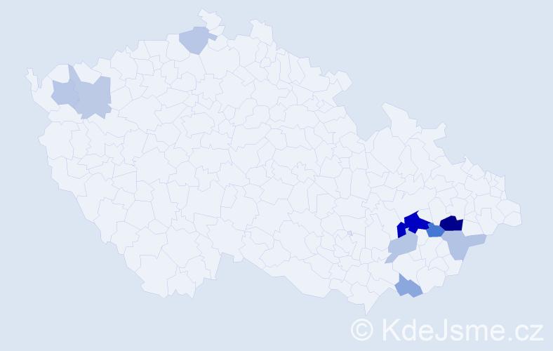 Příjmení: 'Dermíšková', počet výskytů 20 v celé ČR
