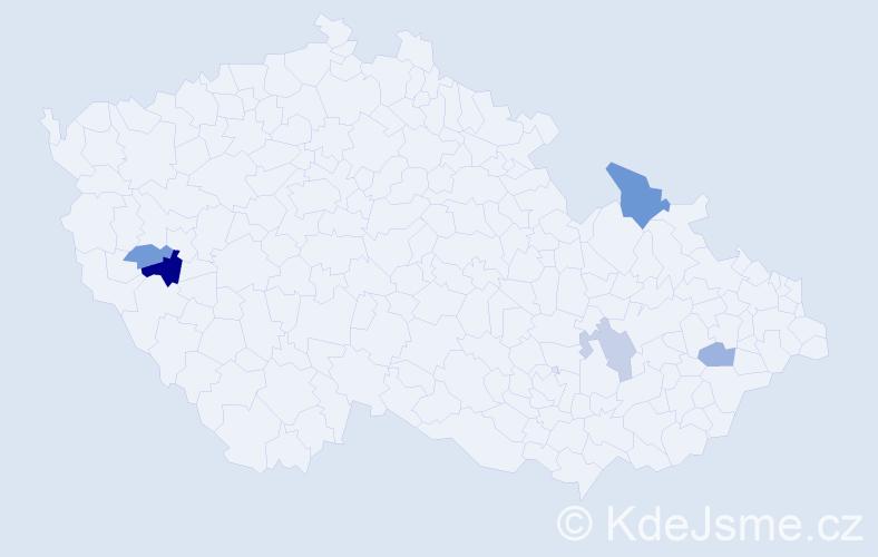Příjmení: 'Bac', počet výskytů 8 v celé ČR
