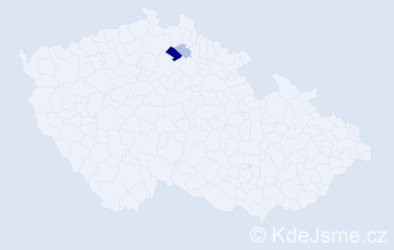 Příjmení: 'Hisler', počet výskytů 5 v celé ČR