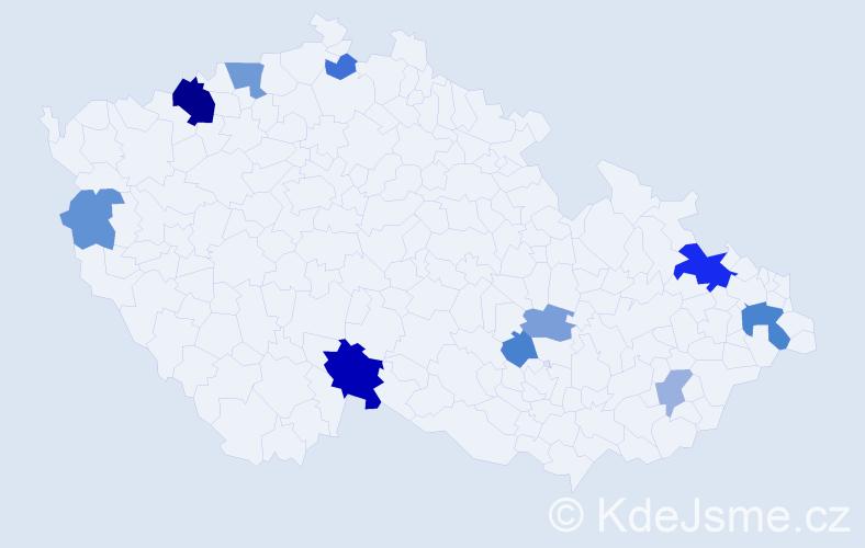 Příjmení: 'Halvoník', počet výskytů 22 v celé ČR
