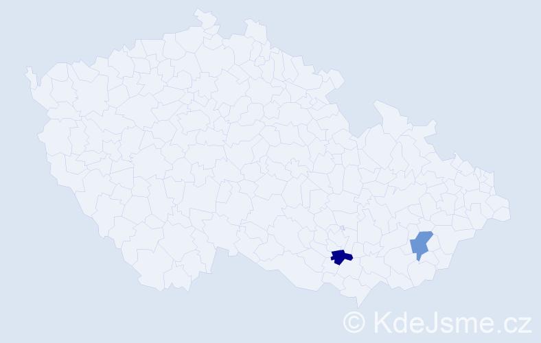 Příjmení: 'Holováč', počet výskytů 4 v celé ČR