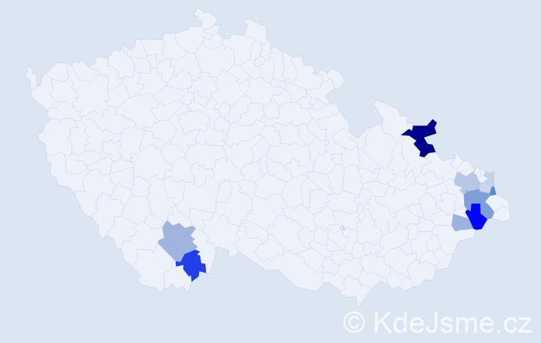 Příjmení: 'Janešíková', počet výskytů 28 v celé ČR