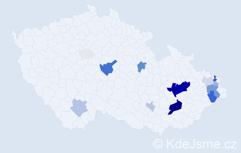 Příjmení: 'Cvoligová', počet výskytů 27 v celé ČR