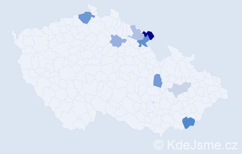 Příjmení: 'Cohlová', počet výskytů 15 v celé ČR