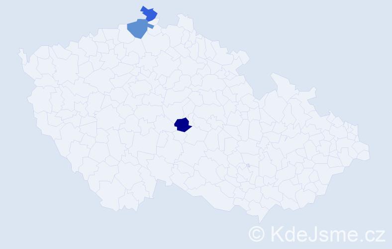Příjmení: 'Bolešová', počet výskytů 7 v celé ČR