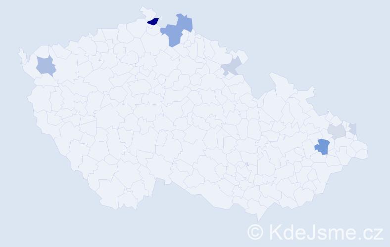 Příjmení: 'Čapucha', počet výskytů 18 v celé ČR