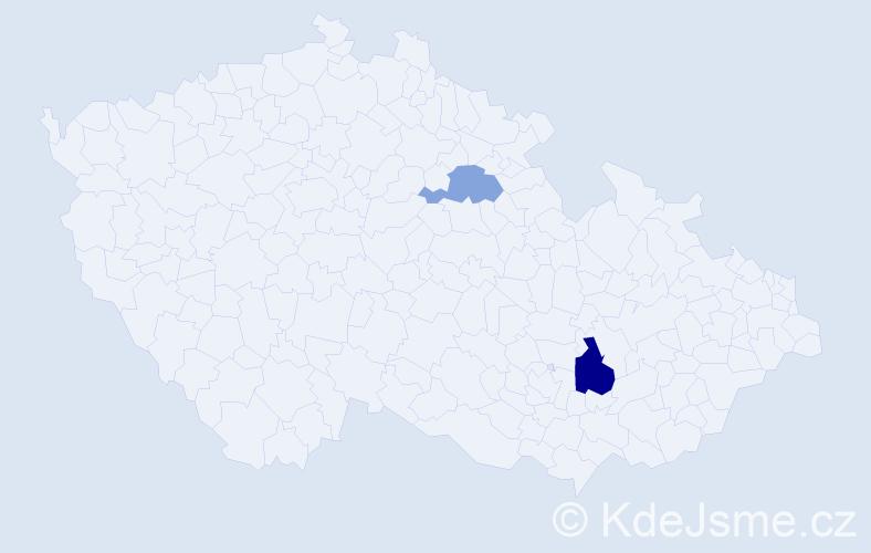Příjmení: 'Erdenebaatar', počet výskytů 3 v celé ČR