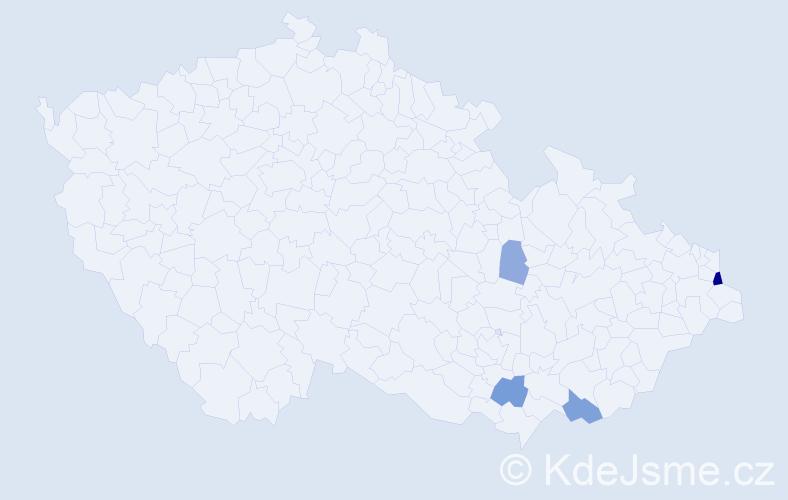 Příjmení: 'Lempartová', počet výskytů 10 v celé ČR