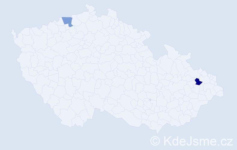 Příjmení: 'Ghaleb', počet výskytů 8 v celé ČR