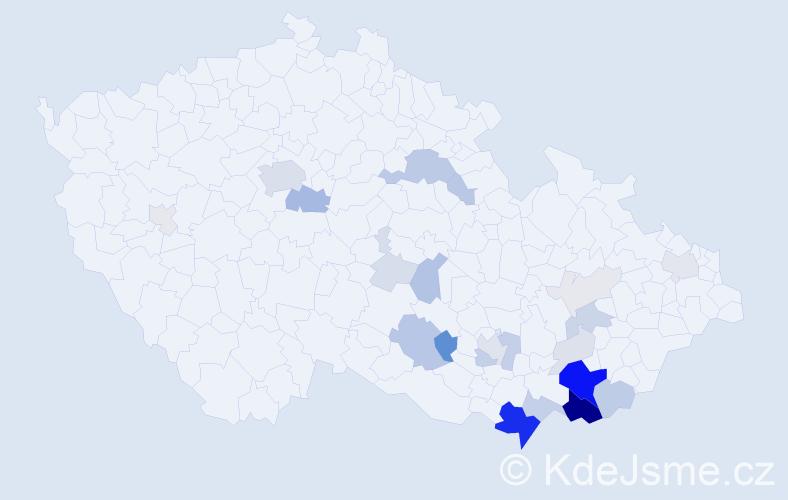 Příjmení: 'Lakosilová', počet výskytů 93 v celé ČR