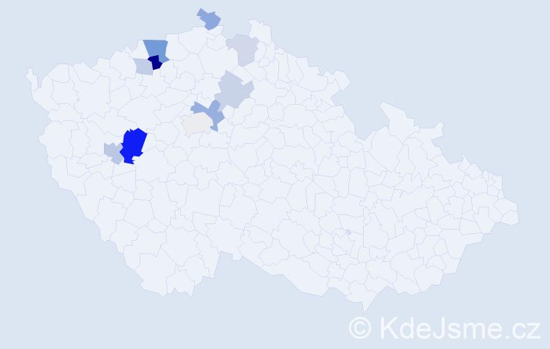 Příjmení: 'Berenreiter', počet výskytů 21 v celé ČR