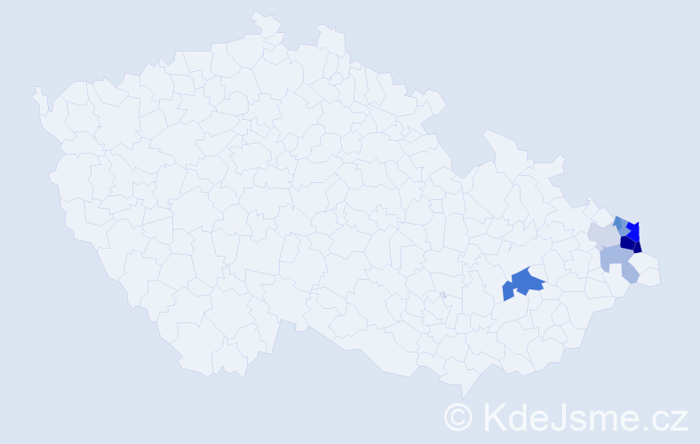 Příjmení: 'Čespiva', počet výskytů 19 v celé ČR
