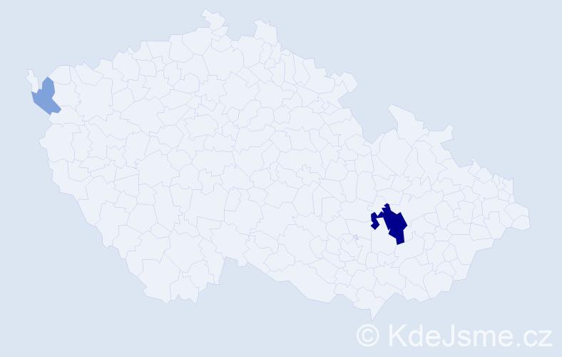 Příjmení: 'Čepý', počet výskytů 7 v celé ČR