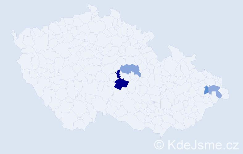 Příjmení: 'Gužiová', počet výskytů 6 v celé ČR