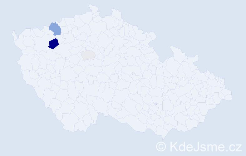 Příjmení: 'Hájevská', počet výskytů 8 v celé ČR