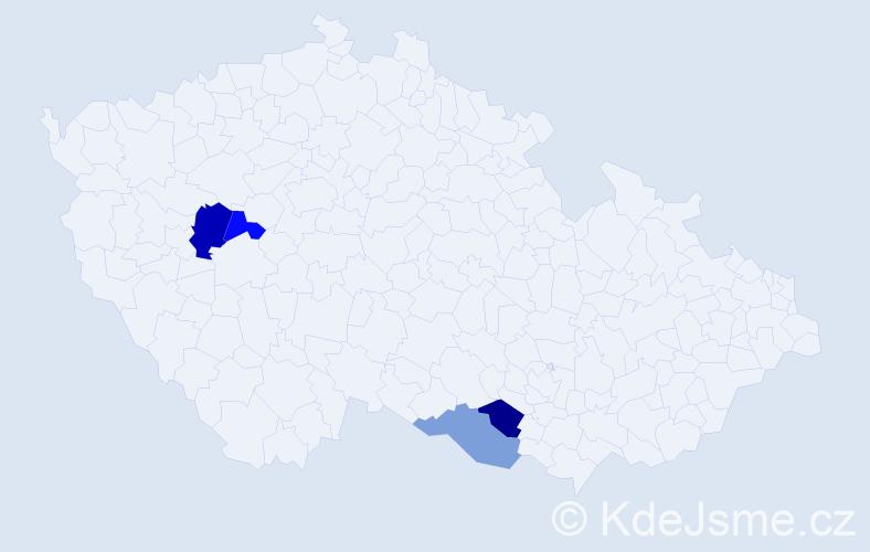 Příjmení: 'Irmannová', počet výskytů 5 v celé ČR